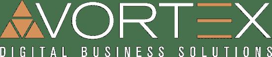Vortex Digital Business Solutions Web Design Iowa City logo white